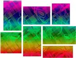 Rainbow Butterflies - 7 Piece Fabric Peel and Stick Wall Skin Art (50x38 inches)