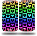 Love Heart Checkers Rainbow - Decal Style Skin (fits Samsung Galaxy S IV S4)
