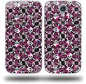 Splatter Girly Skull Pink - Decal Style Skin (fits Samsung Galaxy S IV S4)