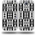 Skull And Crossbones Pattern Bw - Decal Style Skin (fits Samsung Galaxy S IV S4)